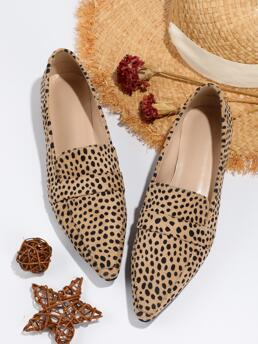 Trending now Multicolor Suede Rubber Pu Leather Polka Dot Pattern Ballet Flats