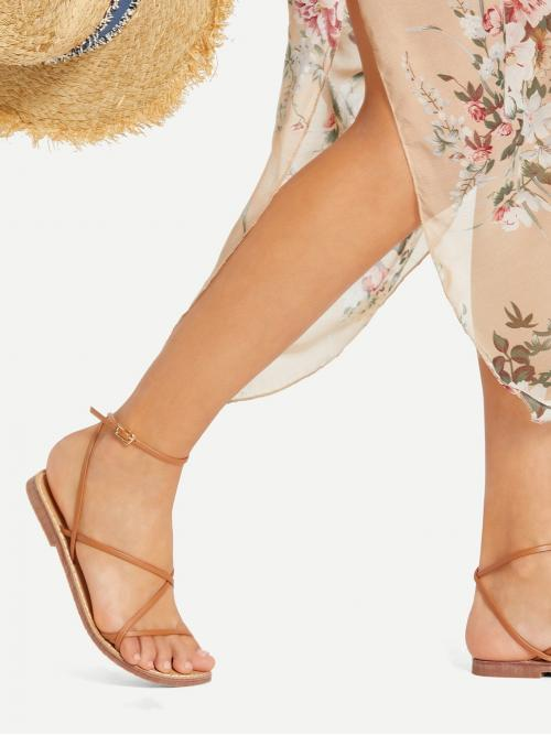 Trending now Corduroy Brown Strappy Sandals Buckle Design Pu Flat Sandals