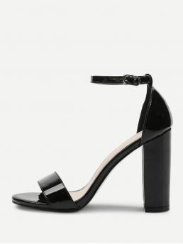 Ankle Strap Open Toe Ankle Strap Black High Heel Chunky Two Part Block Heeled PU Sandals