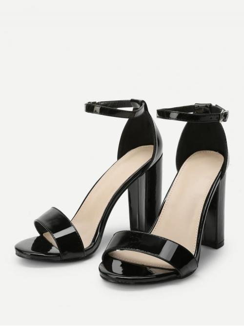 Cheap Corduroy Black Strappy Sandals Cut out Two Part Block Heeled Pu Sandals