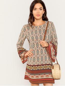 Women's Multicolor Plain Scallop Round Neck Tribal Print Bell Sleeve Dress
