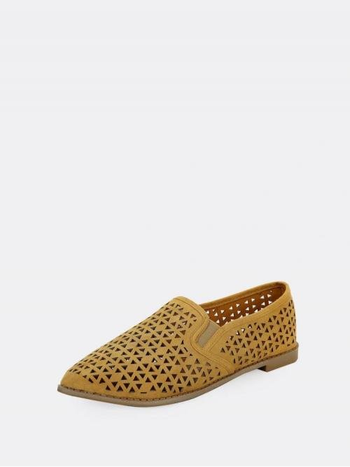 Corduroy Mustard Yellow Loafers Hollow Perforated Detail Slip on Flat Penny Loafer Beautiful