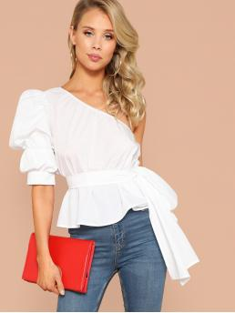 Elegant Plain Peplum Regular Fit One Shoulder Half Sleeve Pullovers White Regular Length One Shoulder Puff Sleeve Belted Solid Top with Belt