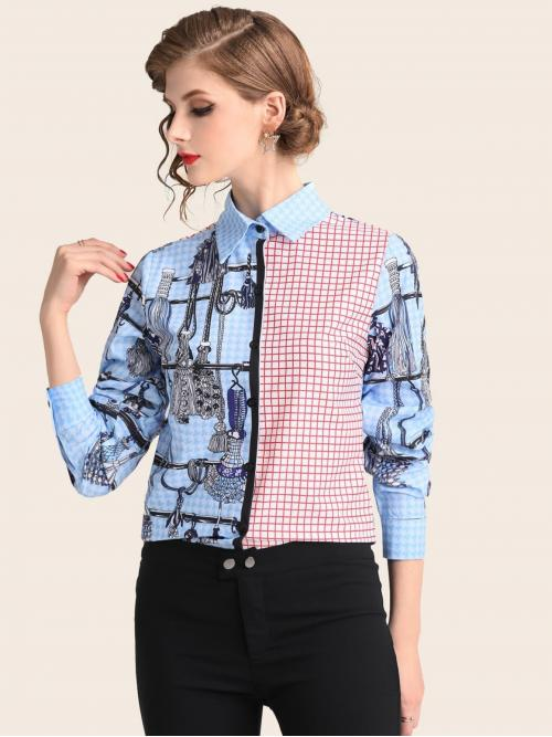 Casual Plaid and Colorblock and Chain Print Shirt Regular Fit Collar Long Sleeve Regular Sleeve Placket Multicolor Regular Length Color Block Graphic Print Blouse