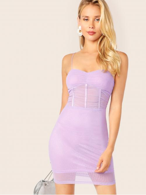 Sexy Cami Plain Slim Fit Spaghetti Strap Sleeveless High Waist Purple and Pastel Short Length Mesh Overlay Slip Bodycon Dress with Lining