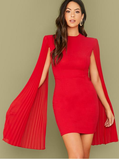 Glamorous Bodycon Plain Pencil Slim Fit Stand Collar Long Sleeve Cloak Sleeve High Waist Red and Bright Short Length Pleated Cape Bodycon Dress Without Belt