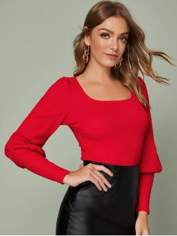 Elegant Plain Slim Fit Scoop Neck Long Sleeve Pullovers Red and Bright Regular Length Solid Leg-of-mutton Sleeve Top