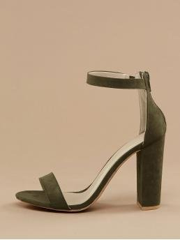 Glamorous Plain Army Green High Heel Chunky Ankle Band Open Toe Block Heel Sandals