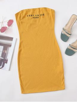 Mustard Yellow Letter Rib-knit Strapless Graphic Tube Dress on Sale