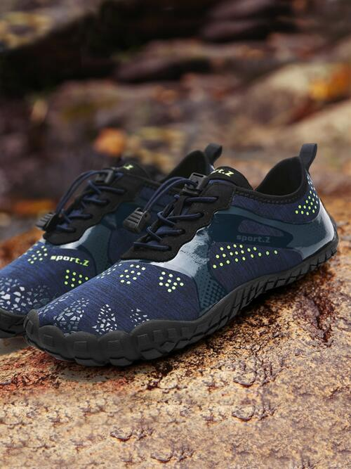 Affordable Navy Blue Water Shoes Low-top Lycra Pattern Front Water Shoes