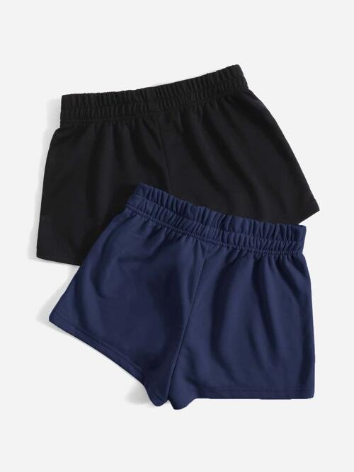 Multicolor High Waist Track Shorts Plain 2 Pack Solid Track Shorts Fashion