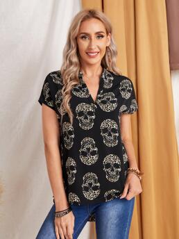 Trending now Cap Sleeve Top Polyester all over Print Emery Rosetch Neck Leopard Skull Print Top