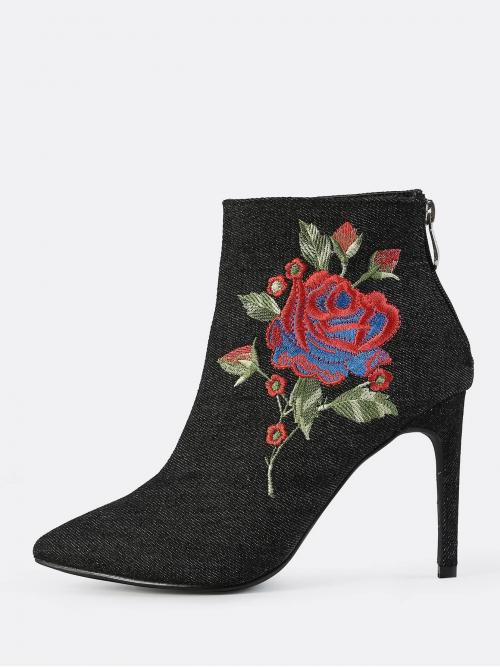 Glamorous Other Open Toe Floral Back zipper Black High Heel Stiletto Closed Toe Denim Embroidered Booties BLACK