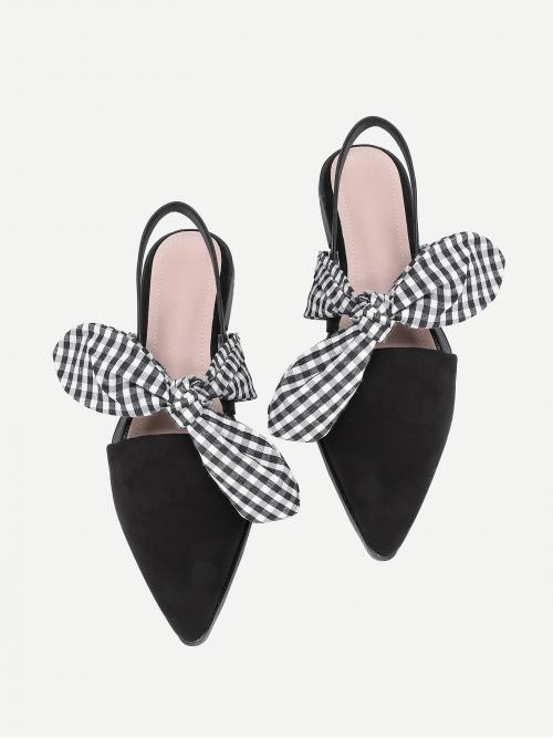 Discount Corduroy Black Slingbacks Bow Gingham Tie Decorated Pointed Toe Flats
