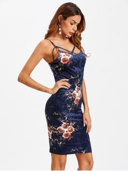 Glamorous and Sexy Cami Floral Slim Fit Spaghetti Strap Sleeveless Natural Blue Short Length Crisscross Front Floral Crushed Velvet Cami Dress