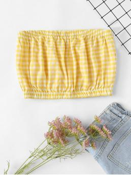 Boho Gingham Slim Fit Strapless Yellow Crop Length Gingham Bandeau Top