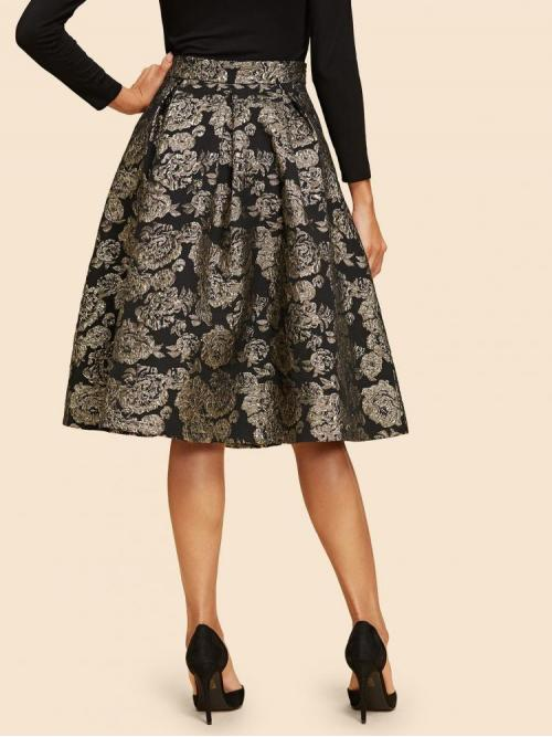 Affordable Black Natural Waist Embroidery Flared Flare Jacquard