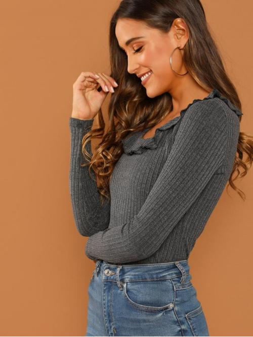 Long Sleeve Top Ruffle Polyester Ribbed T-shirt Sale