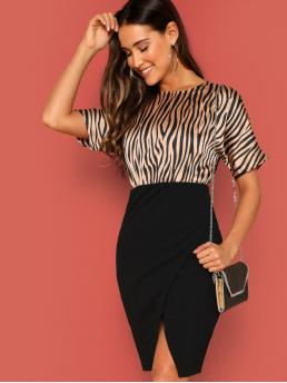 Elegant Bodycon Animal Wrap Slim Fit Round Neck Short Sleeve Regular Sleeve Natural Multicolor Midi Length Zebra Print Split Back Wrap Combo Dress