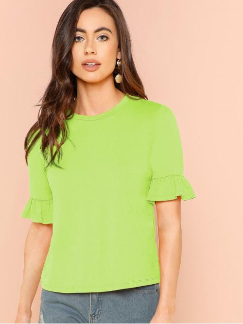 Casual Plain Regular Fit Round Neck Short Sleeve Flounce Sleeve Pullovers Green and Bright Regular Length Neon Lime Ruffle Cuff Top