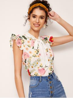 Boho Floral Top Regular Fit Sleeveless Pullovers Multicolor Regular Length Floral Print Tie Neck Blouse
