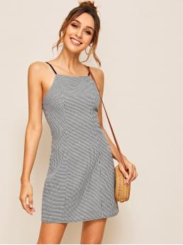 Casual Cami Houndstooth Regular Fit Spaghetti Strap Sleeveless High Waist Black and White Short Length Houndstooth Print Cami Dress