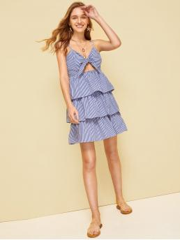 Cute Cami Striped Layered/Tiered Spaghetti Strap Sleeveless High Waist Blue Short Length Striped Tiered Layer Tie Front Cami Dress