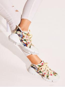 Comfort Round Toe Multicolor Lace-up Front Chunky Sole Trainers