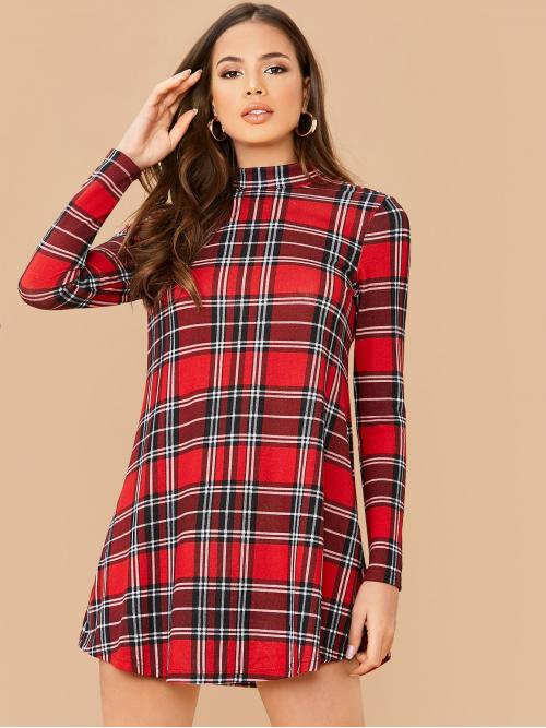 Casual Tee Plaid Straight Regular Fit Stand Collar Long Sleeve Regular Sleeve Natural Red Short Length Mock-Neck Curved Hem Plaid Dress