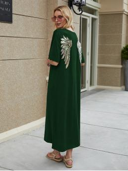 Casual Tee Straight Regular Fit Round Neck Half Sleeve DropShoulder Natural Green Long Length Contrast Sequined Wing Tee Dress