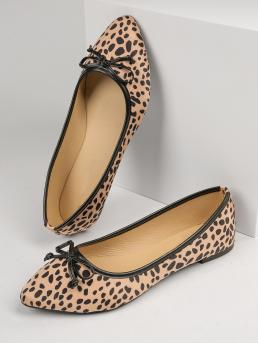 Trending now Brown Ballet Point Toe Suede Cheetah Print Faux Flats