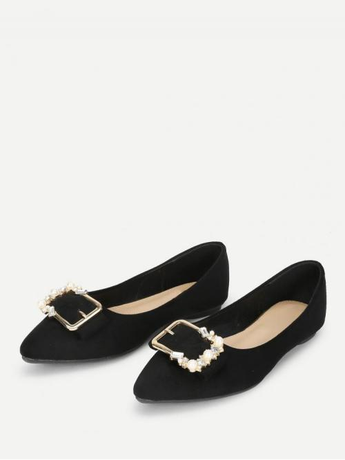 Women's Corduroy Black Ballet Rhinestone Buckle Front Pointed Toe Flats with Jewelry