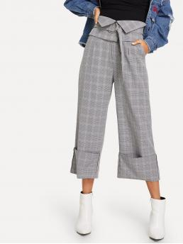 Casual Plaid Wide Leg Loose Mid Waist Grey Cropped Length Wide Leg Plaid Pant