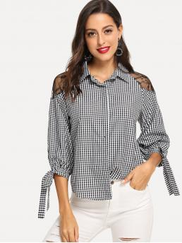 Preppy Shirt Regular Fit Collar Long Sleeve Placket Black and White Regular Length Lace Detail Gingham Blouse with Chest pad