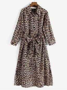 Shirt Leopard Flared Regular Fit Collar Long Sleeve Natural Multicolor Midi Length Self Tie Leopard Print Shirt Dress with Belt