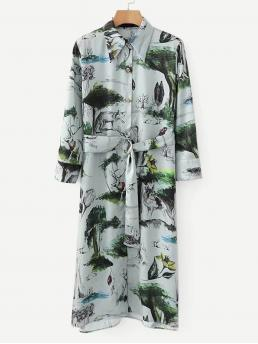 Casual Shirt Animal and Plants Straight Loose Collar Long Sleeve Natural Blue Long Length Self Tie Ink Painting Print Satin Shirt Dress with Belt