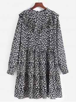 Cute A Line Leopard Straight Loose Stand Collar Long Sleeve Natural Black and White Short Length Leopard Print Ruffle Trim Smock Dress