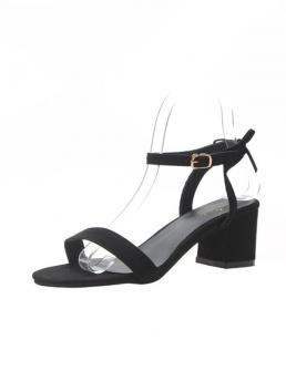 Business Casual Open Toe Ankle Strap Black Mid Heel Chunky Two Part Ankle Strap Suede Sandals