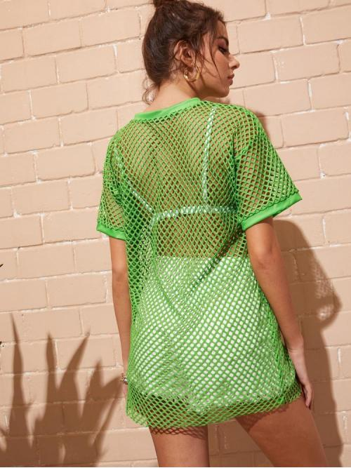 Green Plain Contrast Binding Round Neck Solid Fishnet Dress Discount