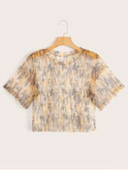 Sporty Camo Regular Fit Round Neck Short Sleeve Pullovers Multicolor Crop Length Mesh Camo Print Sheer Tee
