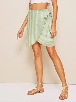 Casual Wrap Striped Mid Waist Multicolor Above Knee/Short Length Wrap Knot Detail Striped Skirt