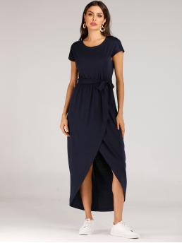 Casual Tee Plain Asymmetrical Loose Round Neck Short Sleeve High Waist Navy Long Length Belted Tulip Hem Solid Wrap Dress with Belt