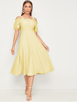 Elegant A Line Plain Flared Regular Fit Straps Short Sleeve Puff Sleeve High Waist Yellow and Pastel Long Length Cold Shoulder Frill Trim Buttoned Fit and Flare Dress