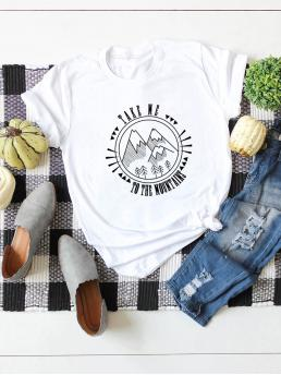 Casual Letter and Graphic Regular Fit Round Neck Cap Sleeve Pullovers White Regular Length Letter & Outline Mountain Graphic Tee