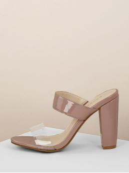 Glamorous Open Toe Pink High Heel Chunky Double Band PVC Detail Patent Heeled Sandals