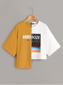 Casual Colorblock and Graphic Regular Fit Round Neck Short Sleeve Pullovers Multicolor Regular Length Letter & Grid Spliced Tee