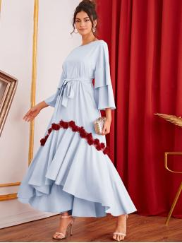 Elegant Tunic Asymmetrical Loose Round Neck Three Quarter Length Sleeve Flounce Sleeve High Waist Blue and Pastel Long Length Layered Bell Sleeve Belted Appliques Detail Dip Hem Dress with Belt