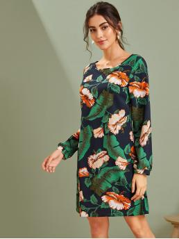 Boho Tunic Floral and Tropical Straight Regular Fit Round Neck Long Sleeve Regular Sleeve Natural Multicolor Short Length Floral & Tropical Print Tunic Dress
