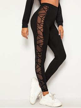 Affordable Black Sheer Regular Geometric Geo Mesh Insert Leggings