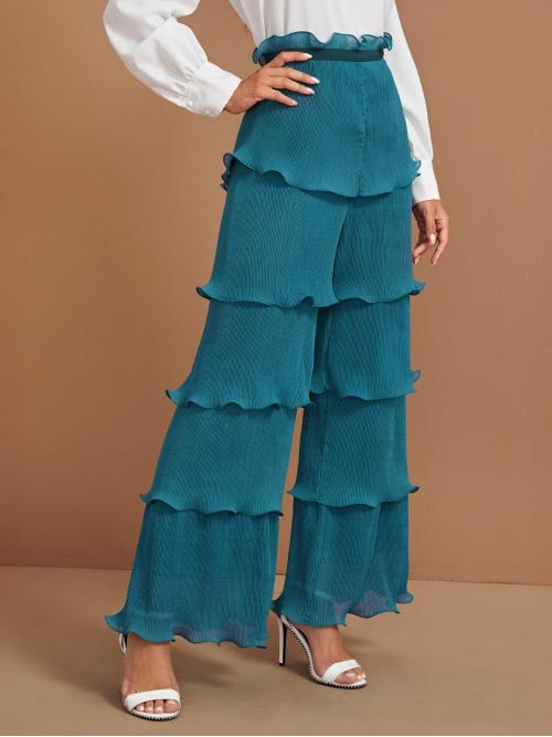 Glamorous Plain Wide Leg Loose Zipper Fly High Waist Blue Long Length Paperbag Waist Lettuce Trim Layered Pleated Wide Leg Pants